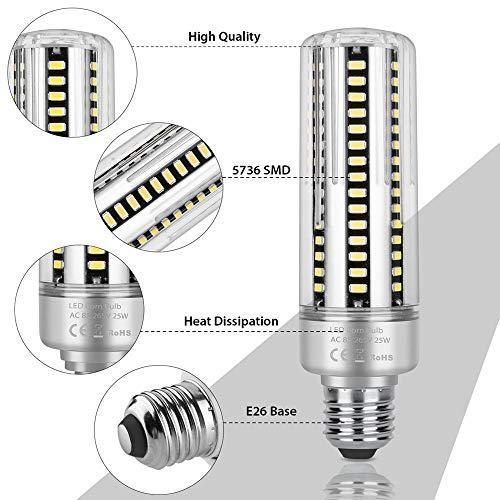 Led Tageslicht Mais Lampe, E26 Maisbirne Aluminium Maisbirne High Power @ 25W -