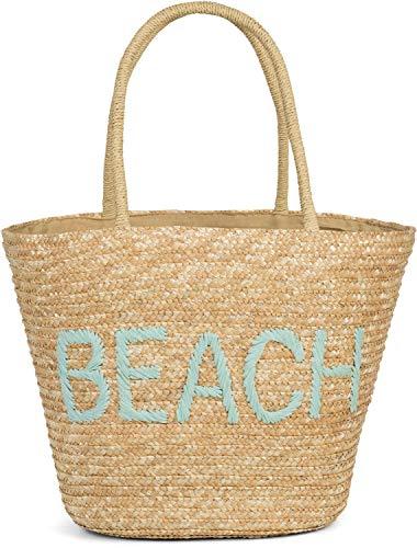 styleBREAKER Damen Korbtasche mit Reißverschluss und gesticktem Beach Spruch, Strandtasche, Strandkorb geflochten 02012289, Farbe:Braun-Hellblau