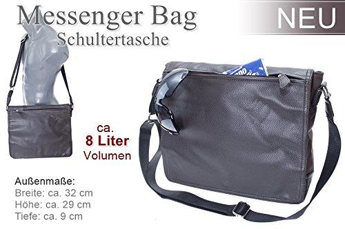 Dokumententasche Kuriertasche Schultertasche Citybag Flugbegleiter Umhängetasche Business Messenger Bag Tasche (Schwarz) Braun
