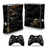 MightySkins Protective Vinyl Skin Decal for Xbox 360 S Slim + 2 controllers Case wrap cover sticker skins Black Gold Marble
