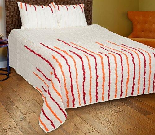 2-teiliges Bettwäsche-Set, gesteppt, Twin, rot/orange (Twin Quilt Elfenbein)