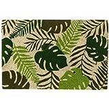 D,casa - Felpudo de Hojas Verde de Fibra de Coco étnico para la Entrada de 60x40 cm Sol Naciente