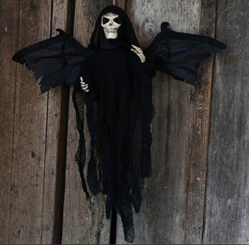 Halloween Hängend Ghost Dekorationen Aufhellen Augen Gothic Ghost Hanging Party Dekoration mit Fliegende Flügel Haunted Skeleton Requisiten für Party Nachtclub Wall Hanging Deko Schwarz