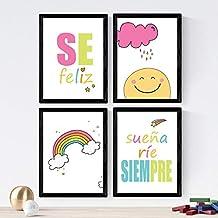 Nacnic Set de 4 láminas de Mensajes Infantiles,en tamaño A4, Poster Papel 250