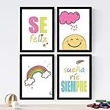 Nacnic Set de 4 láminas de Mensajes Infantiles,en tamaño A4, Poster Papel 250 gr Marco