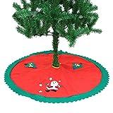 Aohro runde Filz-Baumdecke Weihnachtsbaum Rock Rot Holiday Ornament, Bodendekoration Christbaum Platz Decke (90Cm)