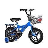 FINLR-Kinderfahrräder Jungen-Mädchen-Baby Kinderfahrräder Kinder Pedal Fahrrad  12/14/16/18/20 Zoll  Integriertes Rad Mit Stabilisatoren Und Rücksitz (Color : Blue, Size : 12 inches)