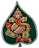 #3: Deep Multicolor Front Center Lord Ganesha on WoodenLeaf Sticker for Floor or Wall Decoration