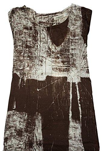 Minetom Femme Casual Robe Retro Linen Manches Courtes Col Rond Imprimé Tunique Large Longue Robe Party Dress Café