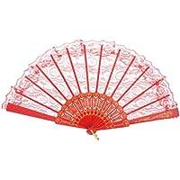 Huihong  FaltbHandfächer aus Spitze Fächer aus Spitze  Chinese Style  Handfächer für Hochzeitsfeier Tanz Party Dekor (Rot)