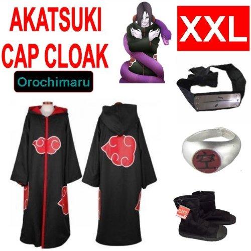 Naruto costume cosplay Set per Orochimaru- Akatsuki Mantello incappucciato + anello Akatsuki Orochimaru+ fascia + scarpe Naruto Akatsuki , taglia XXL (altezza 185 cm-190 cm)