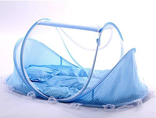 SINOTOP Baby Mosquito Ded tragbar für Reise, Babybett Falten Baby Krippe Moskitonetz Tragbare Baby Kinderbetten für 0-18 Monat Baby (Blau)
