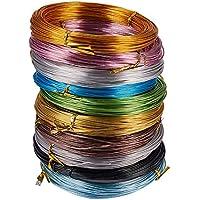 PandaHall Elite 10 Pcs Alambre de Aluminio, 10 Colores Mezclados, 1 mm; 20 m de Cada Rollo