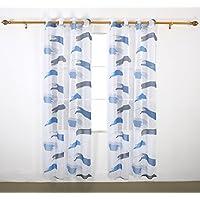 Deconovo Stampa decorativa in lino, tende a pacchetto in Voile con asole, Tende per camera da letto, 1 paio, Tessuto, Lake Blue and Grey Blue, 55x72