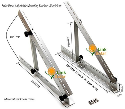 Adjustable Solar Panel Mount Mounting Rack Bracket Set Rack Folding Tilt Legs, Boat, RV, Roof Off Grid (28-inch Length)