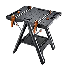 WORX WX051 Pegasus Multifunction Work Table and Sawhorse with Quick Clamps and Holding Pegs, Black