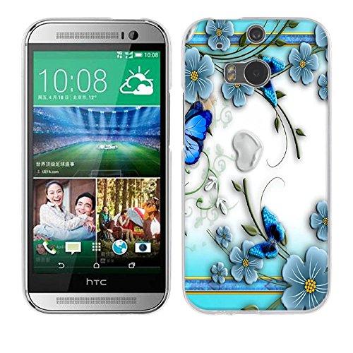 Fubaoda HTC One M8 / M8S Hülle [Kleine lila Schmetterlingsblume] Kratzfeste Plating TPU Case für HTC One M8 / M8S Case Schutzhülle Silikon Crystal Case Durchsichtig für HTC One M8 / M8S