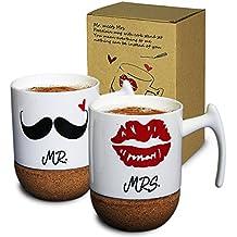 Janazala Mr La Mrs Café Tazas Cerámica, Regalos Original Para Aniversario Parejas e Padres, Mamá Y Papá, Regalo para Mujer, 280ml, Conjunto de 2 En Una Caja De Regalo (Labios Y