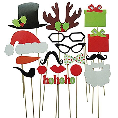 Generic Set von weihnachtliche Fotorequisiten & Fotoaccessoires Party Foto Verkleidung Schnurrbart Lippen Brille Krawatte Hüten Photo Booth Props Set (17 (Masken Weihnachten)