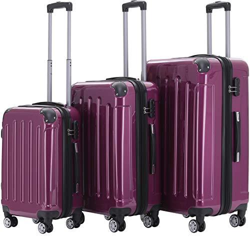 BEIBYE Zwillingsrollen 2048 Hartschale Trolley Koffer Reisekoffer Taschen Gepäck in M-L-XL-Set (Lila, Set)