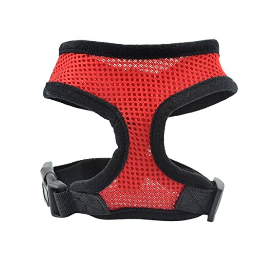 GoGou Soft Mesh No Pull & No Choke Design Einstellbare Hundegeschirr Pet Cat Puppy Comfort Gepolsterte Weste (L, New Red)