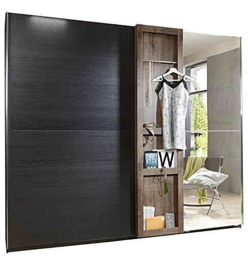 fresh to go F05370 Schwebetürenschrank, Holz, korpus und absetzungen schlammeiche-/ front schwarzeiche nachbildung, 250 x 65 x 220 cm
