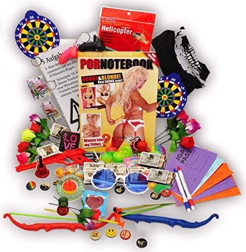 jameitop®Bauchladen Starter SET 70 Teile Verkaufsartikel + 5 Aufgaben Challenge mit Spielanleitung und benötigten Spielen JGA Edition Junggesellenabschied Inhalt