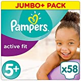 Pampers Premium Protection Active Fit Windeln, Gr. 5+ Junior Plus (13-25 kg), Jumbo Plus Pack, 1er Pack (1 x 58 Stück)