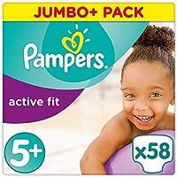 Pampers Premium Protection Active Fit Windeln, Gr. 5+ Junior Plus (13-25 kg), Jumbo Plus Pack, 1er Pack (1 x 58 Stück)