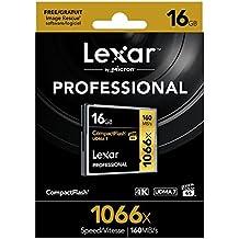 Lexar LCF16GCRBEU1066 - Tarjeta de memoria Profesional Compact Flash de 16 GB (con hasta 160 MB/s, Clase UDMA 7, velocidad de 1066x)