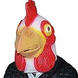 Auspicious beginning Masque de fantaisie au coq au poulet au latex pour Halloween (blanc)