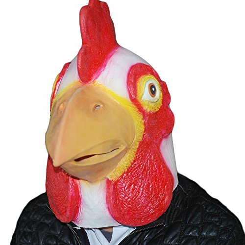 Auspicious beginning Latex Chicken Hahn Fancy Maske für Halloween (Weiß) (Maskerade Kostüme Miami)