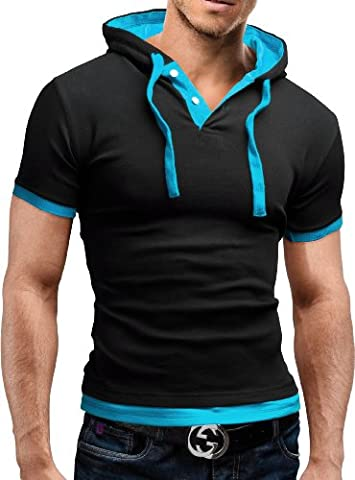 MERISH Poloshirt Hemd 7 Farben Slim Fit T-Shirt 09 Schwarz/Türkis L