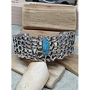 Armspange mit Boulder Opal aus 925er Silber, Netz Design, Unikat, Handarbeit