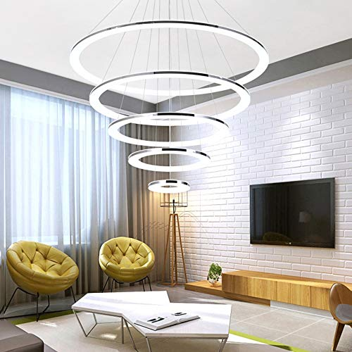 Dimmbar Pendelleuchte LED Hängeleuchte Edelstahl Metall Lampe Weiss Acryl Villa Wohnzimmer Schlafzimmer Hotel Hall Treppe Esszimmerlampe Deko-Beleuchtung Kronleuchter 5-Ring Rund 20+40+60+80+100CM -