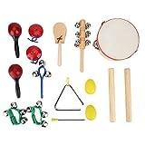 16Pcs Set de Instrument de Percussion pour Enfants Kit Jouet Tambour Musique Cadeaux Educatif Jeux d\'Orchestre Rythme avec Sac de Rangement