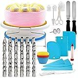 Mainstayae 106Pcs Cake Decorating Supplies Kit Baking Fondant Tool Set Turntable Piping Bag Tip Pen Spatula DIY Cake Cupcake