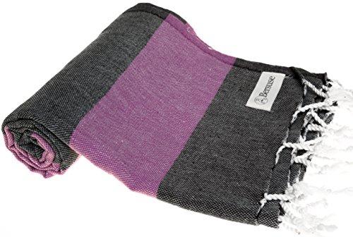 Bersuse 100% cotone - asciugamano turco cayman - certificato oeko-tex - peshtemal fouta per bagno e spiaggia - pestemal dai colori ricchi con strisce - 95x175 cm, nero/viola