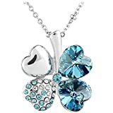 Le Premium® - Collana con ciondolo quadrifoglio, con Swarovski Crystal Elements, confezione regalo, colore: Blu acquamarina