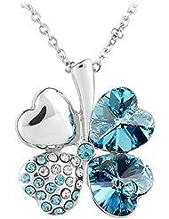 Le Premium - Collar con dije de con cristal swarovski azul aquamarina wgp + caja de regalo original
