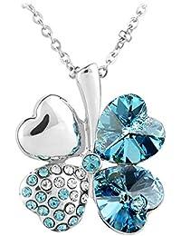 Le Premium® Collier pendentif en SWAROVSKI® ELEMENTS cristal Clover-Aquamarine-plaqué or blanc