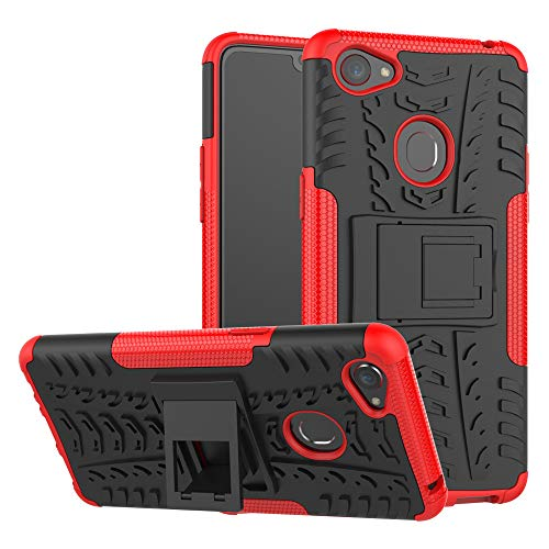 GARITANE Oppo F7 Hülle Case Hybrid 2in1 Defender Schutzhülle Rugged Armor Dual Layer Back Cover mit Ständer für Oppo F7 (rot)