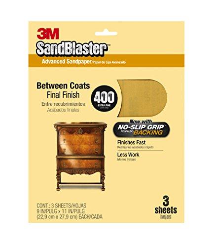 3M COMPANY - Sandblaster No Slip Grip Sandpaper, 400-Grit, Gold, 9 x 11-In, 3-Pk.