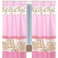 Tab Top cortinas y abrazaderas para la habitación del bebé  rosa #7 - Pink Teddies