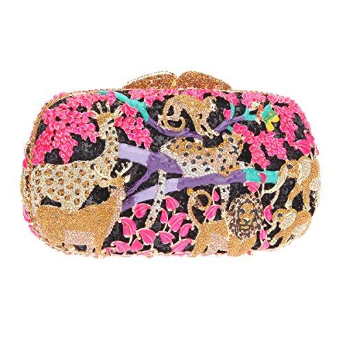 Bonjanvye Lovely and Trendy Style Forest Animal Pattern Clutch Purse Black pink