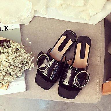 RUGAI-UE Sommer Mode Frauen Sandalen Schuhe Casual PU Komfort Fersen, Schwarz, UNS 6,5-7/EU 37/ UK 4,5-5/CN 37 Black