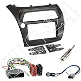 Honda Civic VIII (FK1/FK2/FK3) ab 01/2006 - 02/2012 / Type S (FN1/FN3/FN4) 05/2007 - 02/2012 - Doppel 2-DIN Blende+ ISO Radio Adapter + Antenne Adapter Radioeinbau-Set