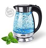 Grafner 2200 Watt Glas Edelstahl Wasserkocher 1,7 Liter mit LED Beleuchtung 360 Grad, kabellos, Kalkfilter, BPA frei, Schwarz