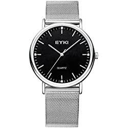 Alienwork Quartz Watch elegant Wristwatch stylish Metal black silver YH.EET2006L-01