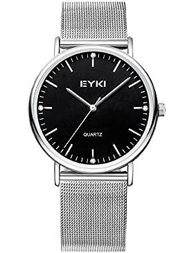 Alienwork Quarz Armbanduhr elegant Quarzuhr Uhr modisch Metall schwarz silber YH.EET2006L-01